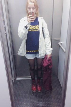 crimson Dr Martens boots - light blue denim Zara jacket - navy wool sweater