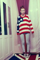 red wool usa flag DIY sweater - light blue jeggins pull&bear jeans