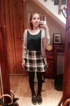 dark green frannel skirt - dark green long sleeve t-shirt - tan vintage cardigan