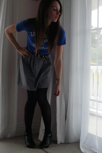 Country Road t-shirt - handmade skirt - belt - Jeffrey Campbell shoes