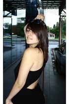 black Zara dress - Pull and Bear bag - sunglasses - Pull and Bear sandals