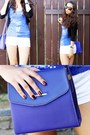 Blue-vintage-bag-white-pimkie-shorts-blue-mango-top