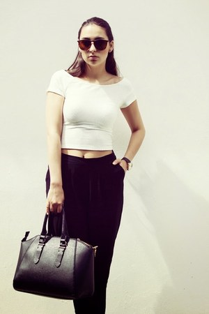 black H&M pants - white Stradivarius top - black Stradivarius heels