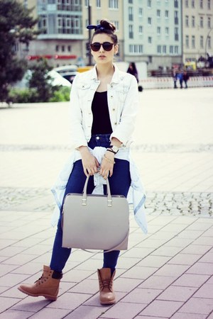 light blue Primark shirt - beige H&M bag