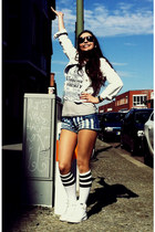 white knee high socks asoscom socks - light blue jeans jacket Tally Weijl jacket