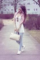 pink H&M sweater - light blue Pimkie jeans - cream H&M top