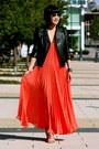 Coral-bcbg-dress-leather-club-monaco-jacket-silver-coach-sandals