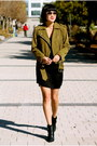 Tibi-boots-aqua-dress-suede-club-monaco-jacket-aviator-ray-ban-sunglasses