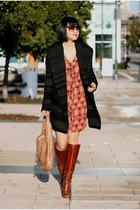vince jacket - brown leather tory burch boots - Club Monaco dress