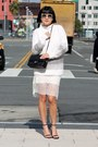 White-aritzia-dress-white-club-monaco-sweater-black-chanel-bag