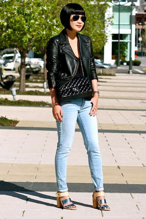 black Chanel bag - blue Gap jeans - black leather Club Monaco jacket