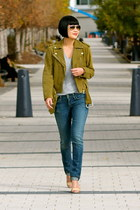 citizens of humanity jeans - green suede Club Monaco jacket - Michael Kors heels