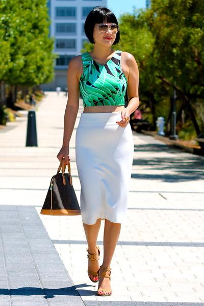 crop Topshop top - nude Chloe shoes - Louis Vuitton bag - white Zara skirt