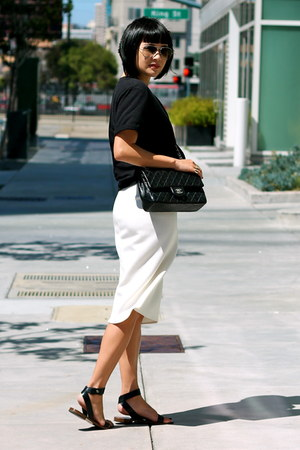 black Chanel bag - white midi Zara skirt - black everlane sandals