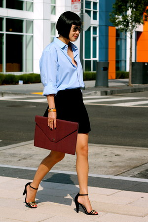 blue banana republic shirt - black and gold Audrey Brooke shoes
