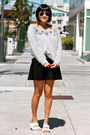 Grey-club-monaco-sweater-black-club-monaco-skirt-white-birkenstock-sandals