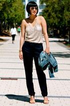 denim madewell jacket - aviator ray-ban sunglasses - nude Michael Kors heels