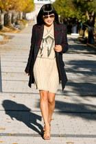 navy Zara coat - nude Parker dress - nude Pour La Victoire heels