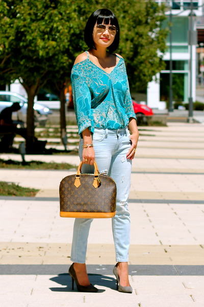 Louis Vuitton bag - Siwy jeans - blue Forever 21 top
