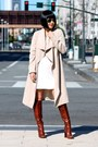 Brown-tory-burch-boots-white-reformation-dress-trench-club-monaco-coat