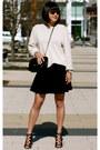 Beige-gap-sweater-black-chanel-bag-black-club-monaco-skirt