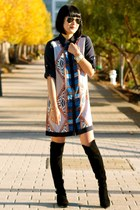 silk Club Monaco dress - black suede stuart weitzman boots