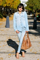 chambray Club Monaco shirt - blue Gap jeans - brown leather Gucci bag