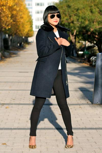 84ad292a142 navy Club Monaco coat - Paige Denim leggings - leopard sam edelman heels