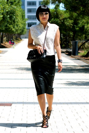 black Chanel bag - Zara skirt - black gladiator Prabal Gurung x Target heels
