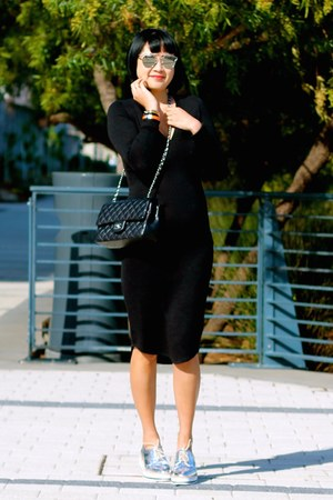 silver Zara shoes - black Aritzia dress - Chanel bag