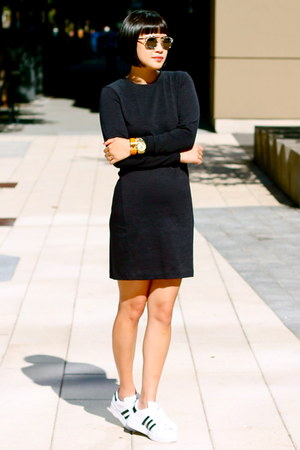 white Adidas shoes - black Club Monaco dress - silver dior sunglasses