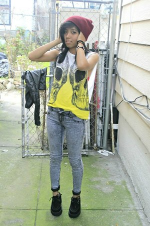 sleeveless Urban Outfitters top - creepers TUK shoes - acid wash Hot Topic jeans