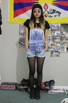 dots H&M tights - dungarees Zara romper - Urban Outfitters t-shirt