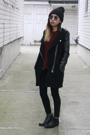 leather sleeve Sheinside jacket - leather Topshop boots - knitted H&amp;M jumper