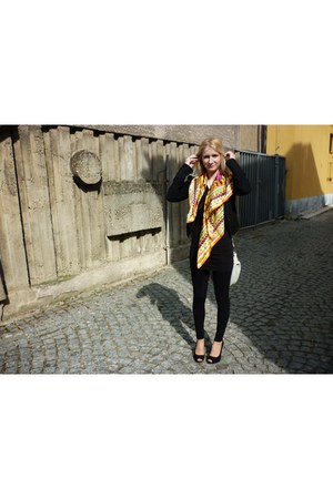 black Bershka jacket - black tajly weijl leggings - yellow Mango scarf - white