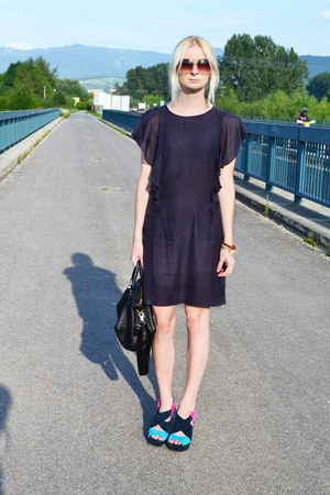 navy lindex dress - navy Topshop sandals