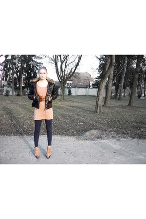 nude asos boots - nude H&M dress - crimson Gate jacket - navy Terranova leggings