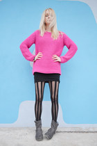 bubble gum Zara sweater - gray FF boots - black Tally Weijl tights