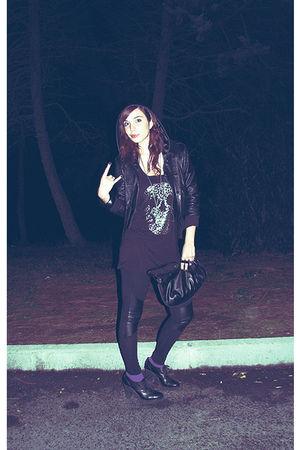 black jacket - black H&M shirt - black H&M leggings - black Mencucci shoes