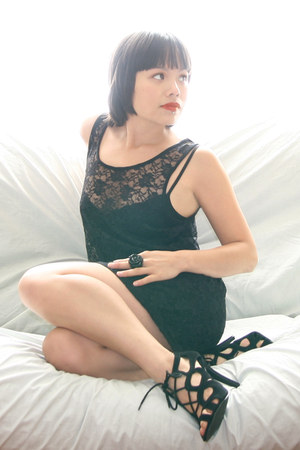 black lace dress - black silk intimate - black lace-up heels - black ring