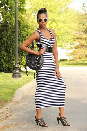 white maxi dress Mossimo dress - black heels Nine West heels
