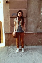 adidas shoes - Stradivarius bag - Stradivarius pants - pull&bear t-shirt - Strad