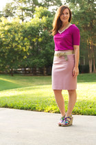 Carlos Santana wedges - banana republic top - JCrew skirt