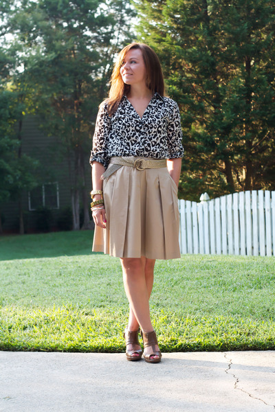 H&M blouse - Forever21 heels - banana republic skirt - JCrew belt