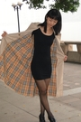 Beige-burberry-coat-black-american-apparel-dress-black-unknown-brand-shoes