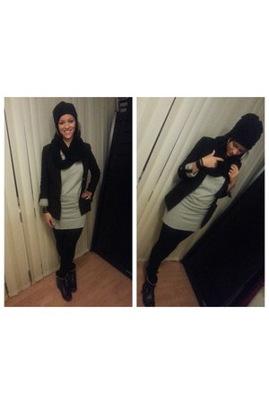 black studded Sacha boots - heather gray c&a dress - black Primark hat