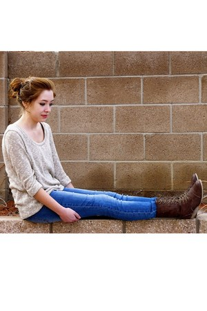 tan loose fit Sparkle and Fade sweater - dark brown unknown brand boots