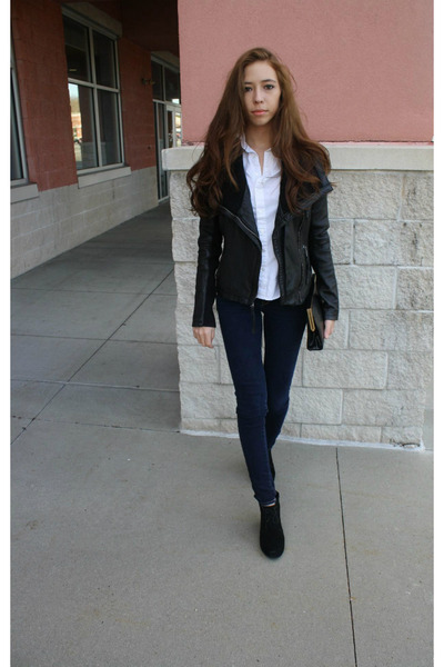 black Michael Kors jacket - navy ae jeans - white American Apparel shirt
