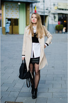 black Bershka sweater - beige Lovelywholesale coat - white H&M shirt