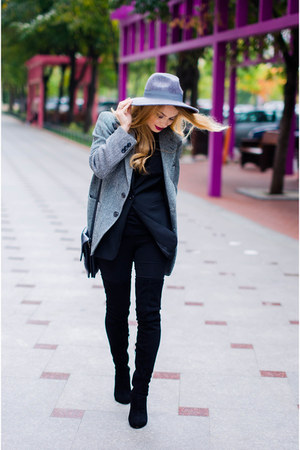 black asos boots - charcoal gray meli melo hat - gray thrifted blazer